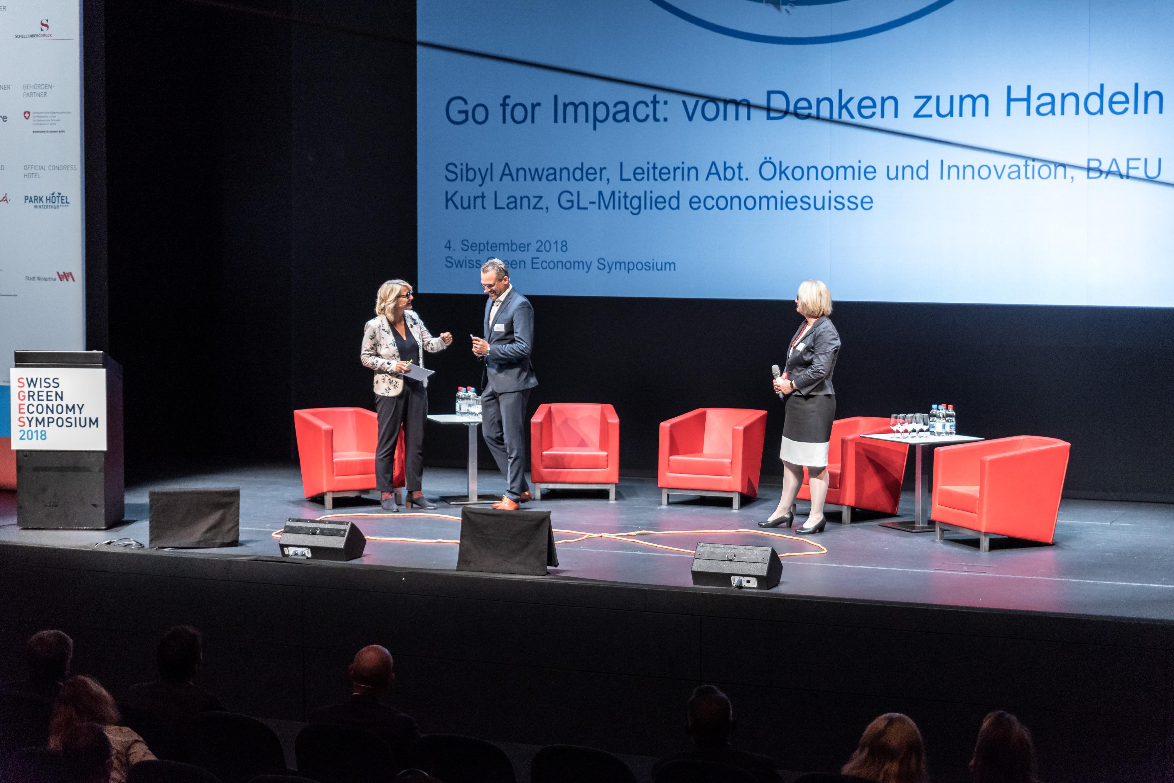 SGES 2018: Keynotes Sibyl Anwander, Leiterin Abteilung Ökonomie und Innovation BAFU und Kurt Lanz, Mitglied der GL economiesuisse